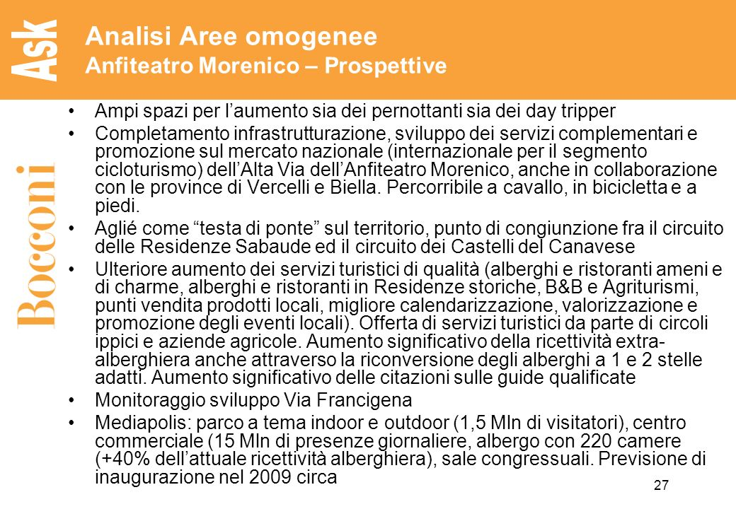 Analisi Aree omogenee Anfiteatro Morenico – Prospettive