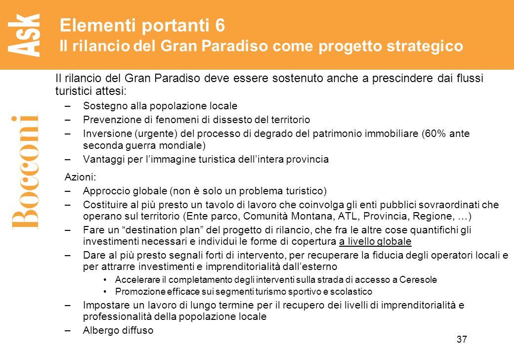 Elementi portanti 6 Il rilancio del Gran Paradiso come progetto strategico