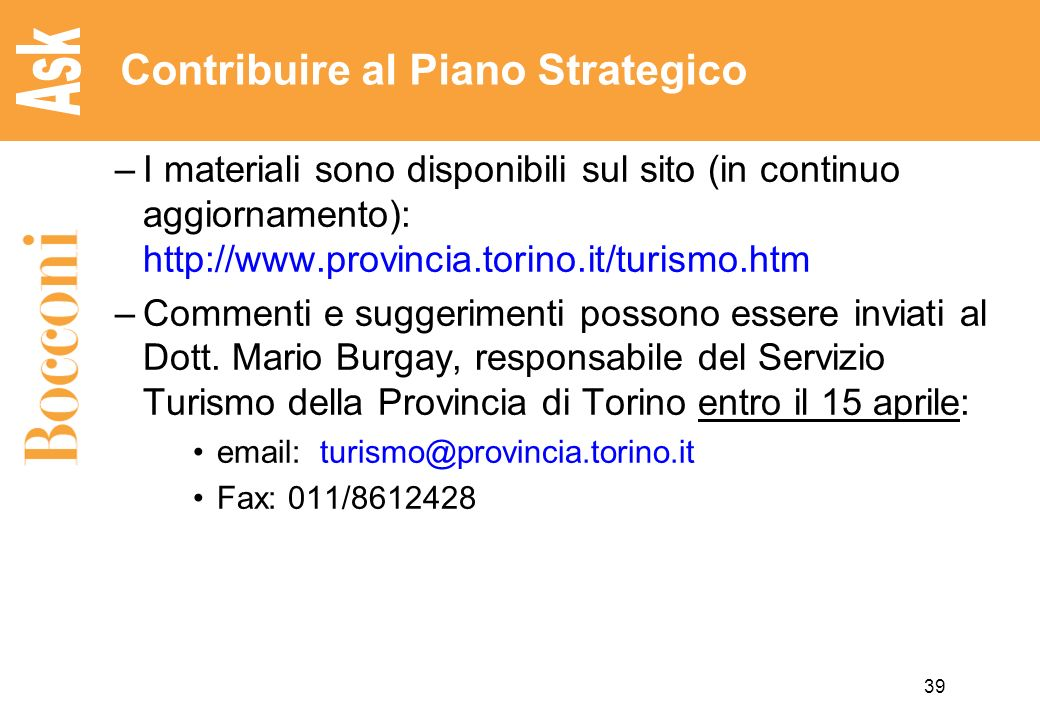 Contribuire al Piano Strategico