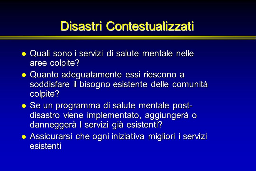 Disastri Contestualizzati