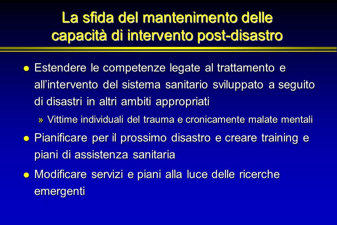 La sfida del mantenimento delle capacità di intervento post-disastro