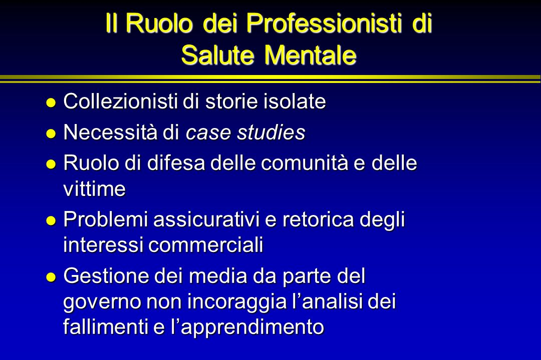 Il Ruolo dei Professionisti di Salute Mentale