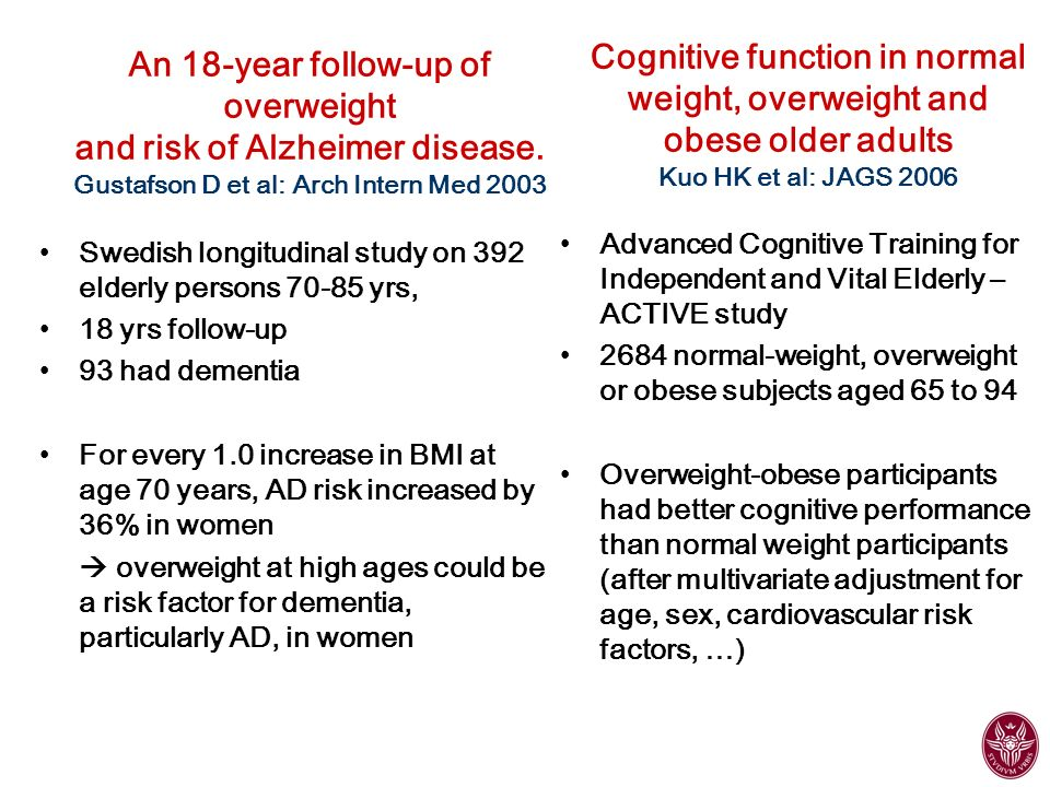 Cognitive function in normal weight, overweight and obese older adults Kuo HK et al: JAGS 2006
