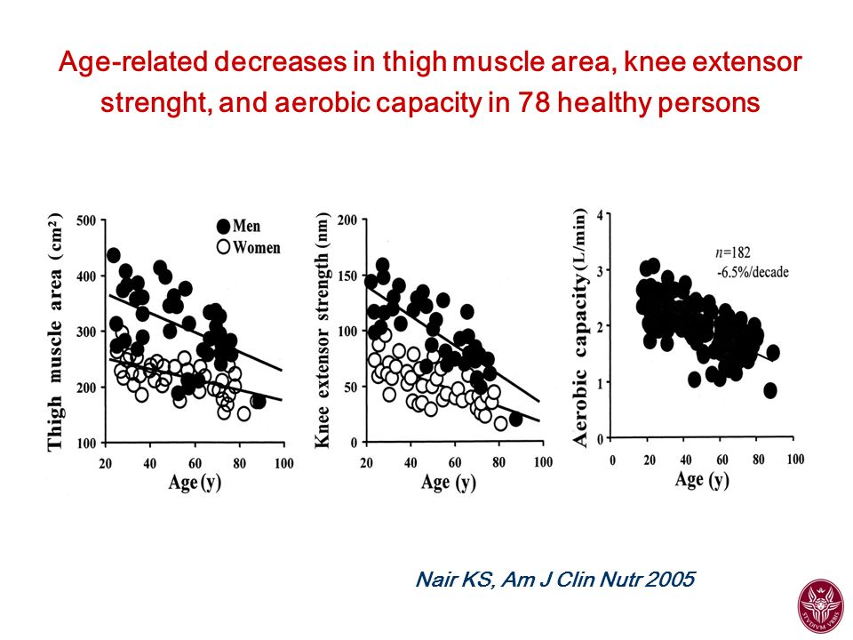 Age-related decreases in thigh muscle area, knee extensor strenght, and aerobic capacity in 78 healthy persons