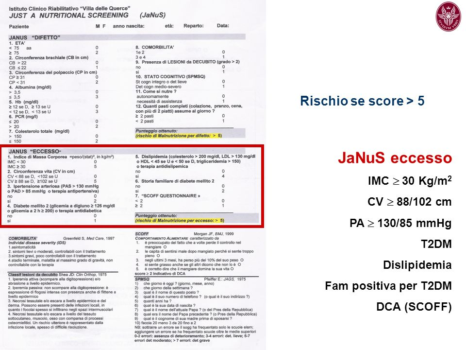 JaNuS eccesso Rischio se score > 5 IMC  30 Kg/m2 CV  88/102 cm
