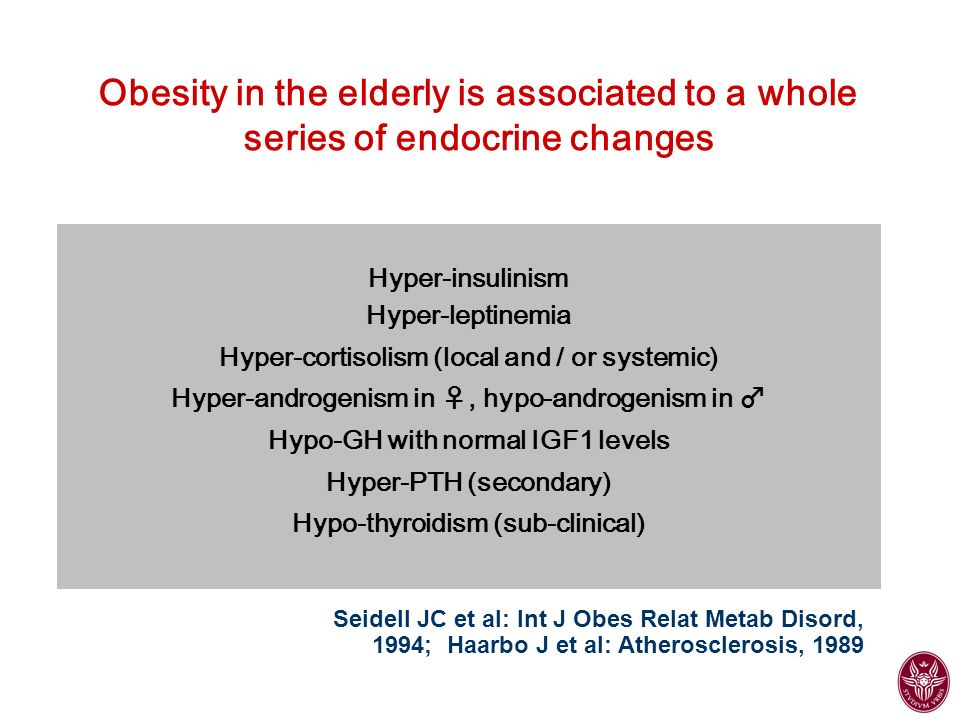 Obesity in the elderly is associated to a whole series of endocrine changes
