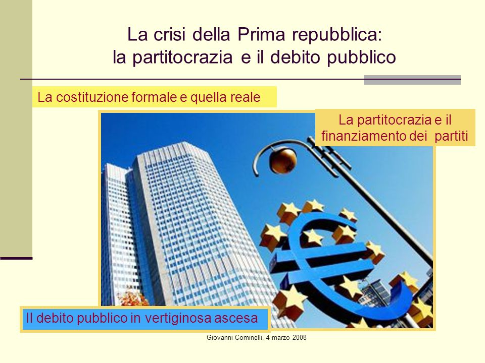 La crisi della Prima repubblica: la partitocrazia e il debito pubblico