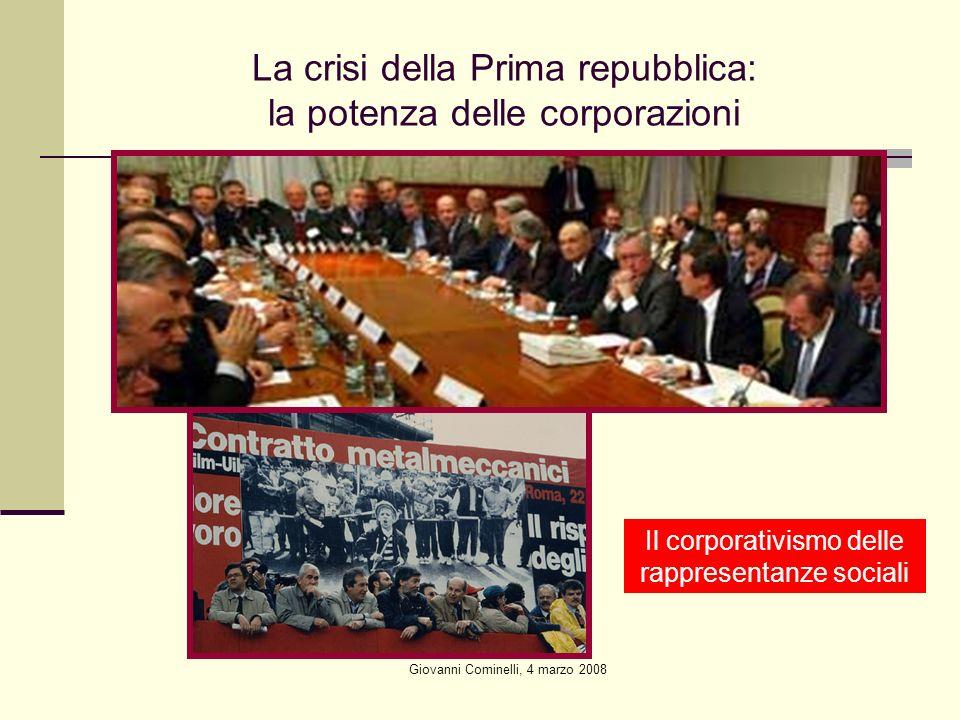 La crisi della Prima repubblica: la potenza delle corporazioni