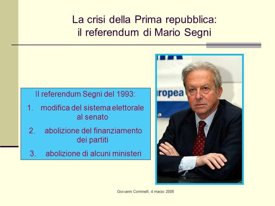La crisi della Prima repubblica: il referendum di Mario Segni