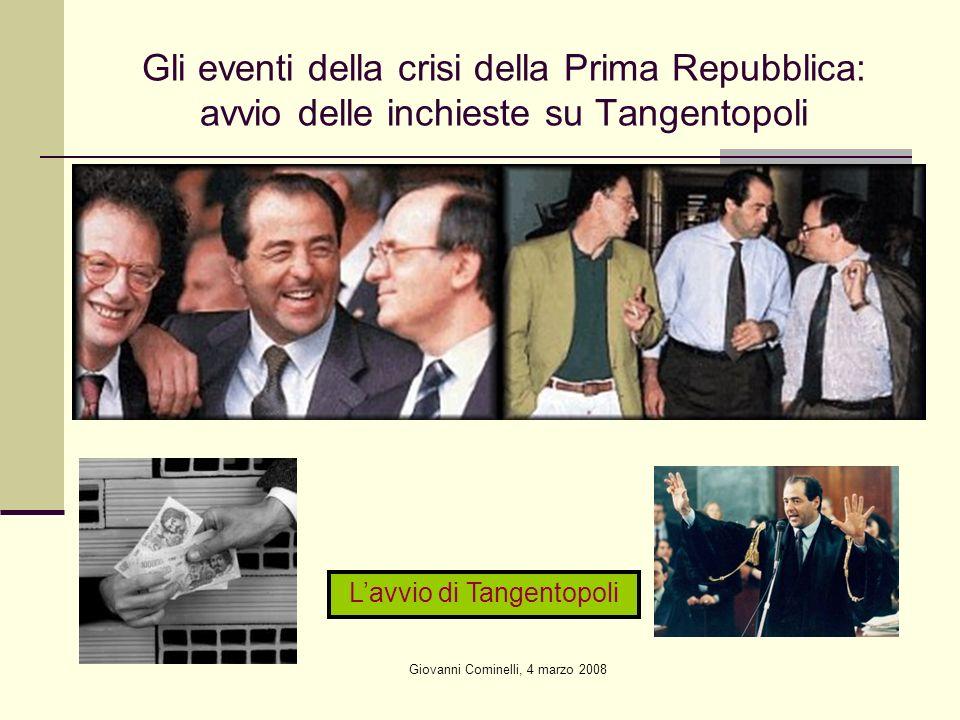 Gli eventi della crisi della Prima Repubblica: avvio delle inchieste su Tangentopoli