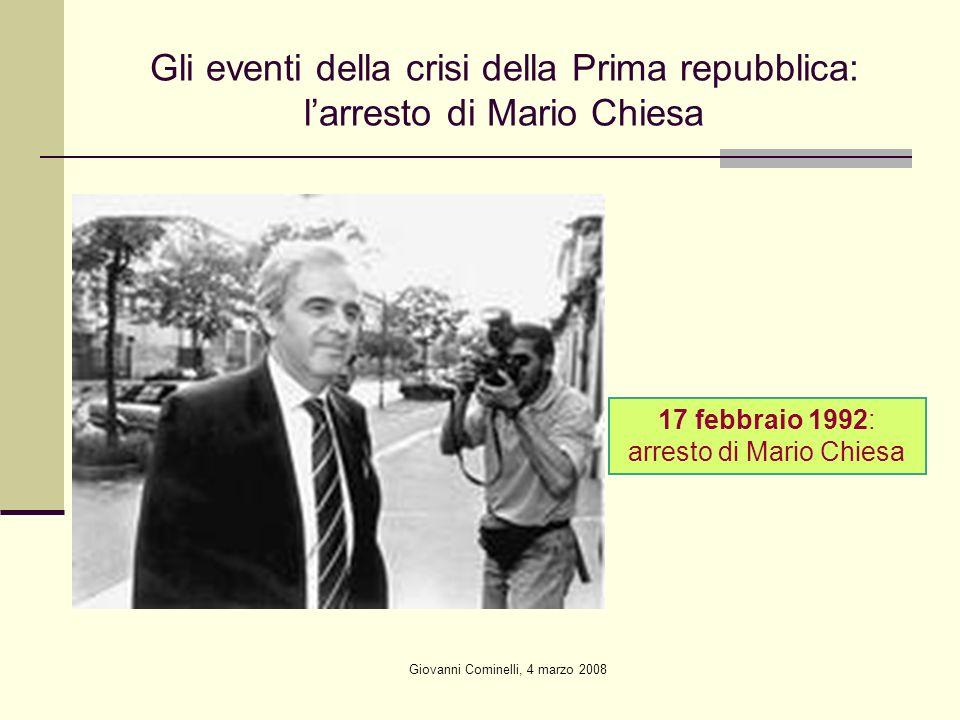 Gli eventi della crisi della Prima repubblica: l'arresto di Mario Chiesa