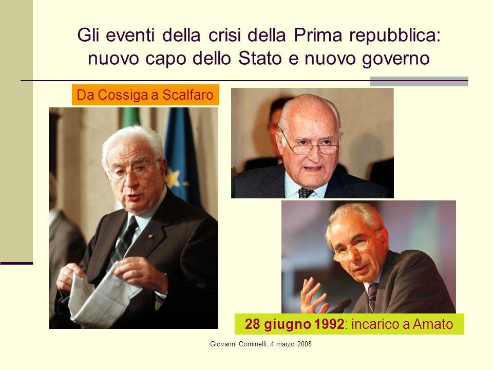Gli eventi della crisi della Prima repubblica: nuovo capo dello Stato e nuovo governo