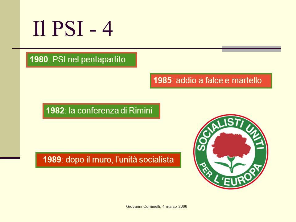 Il PSI - 4 1980: PSI nel pentapartito 1985: addio a falce e martello