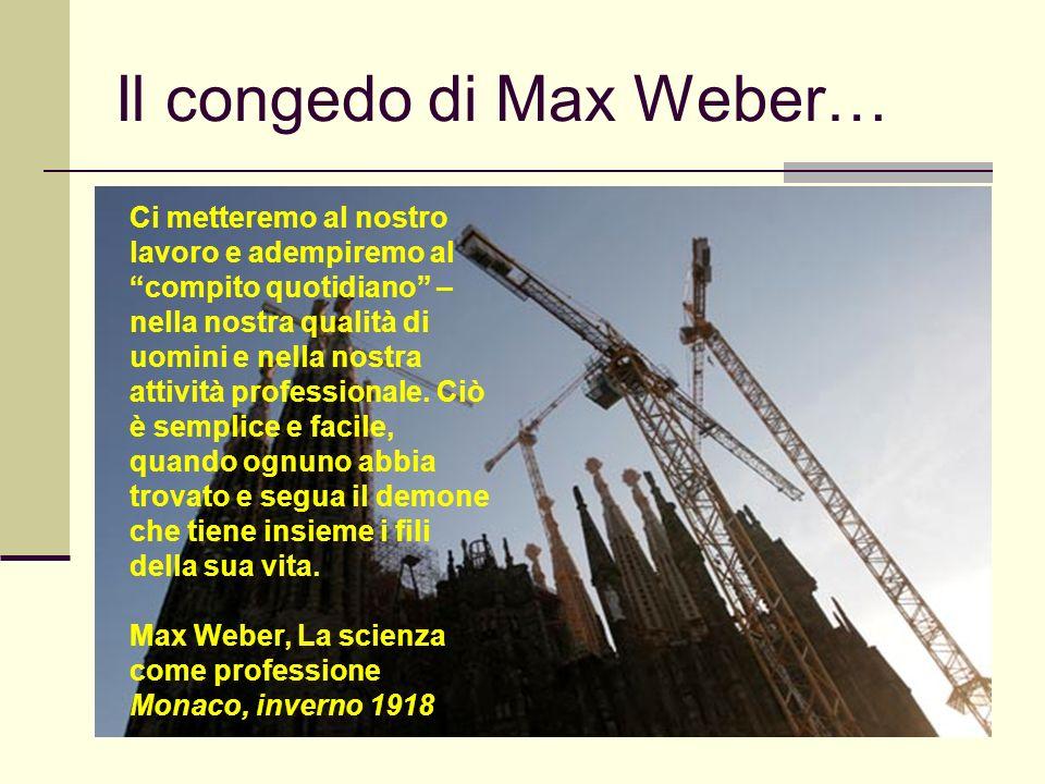 Il congedo di Max Weber…