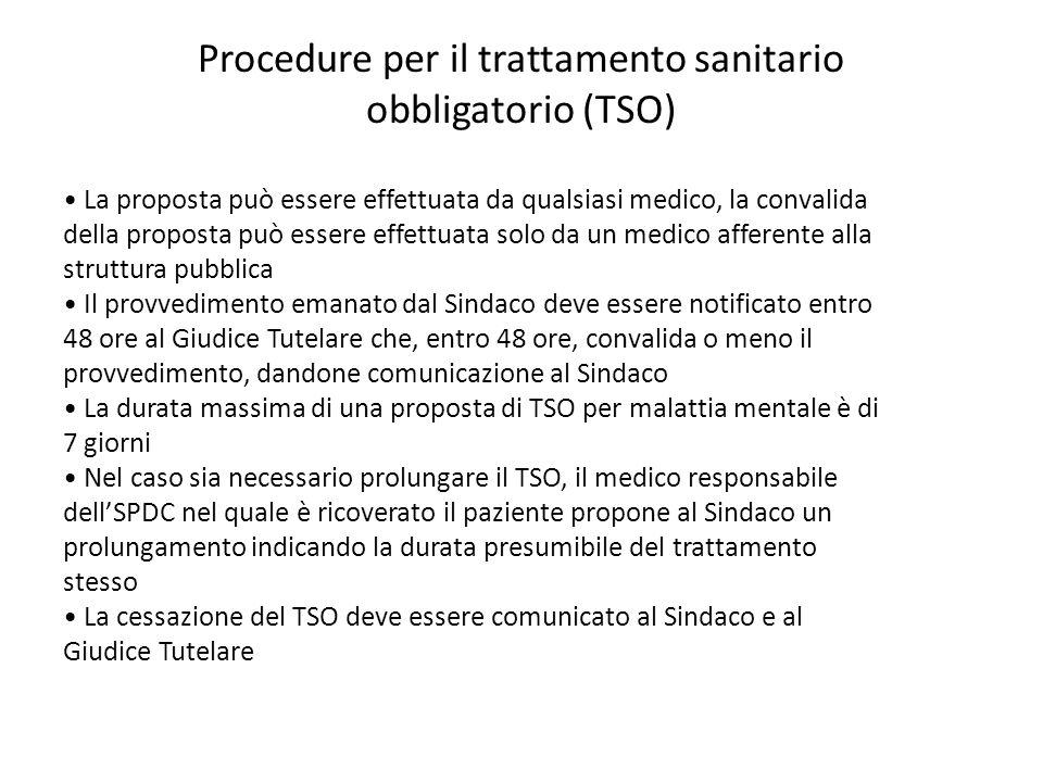 Procedure per il trattamento sanitario obbligatorio (TSO)