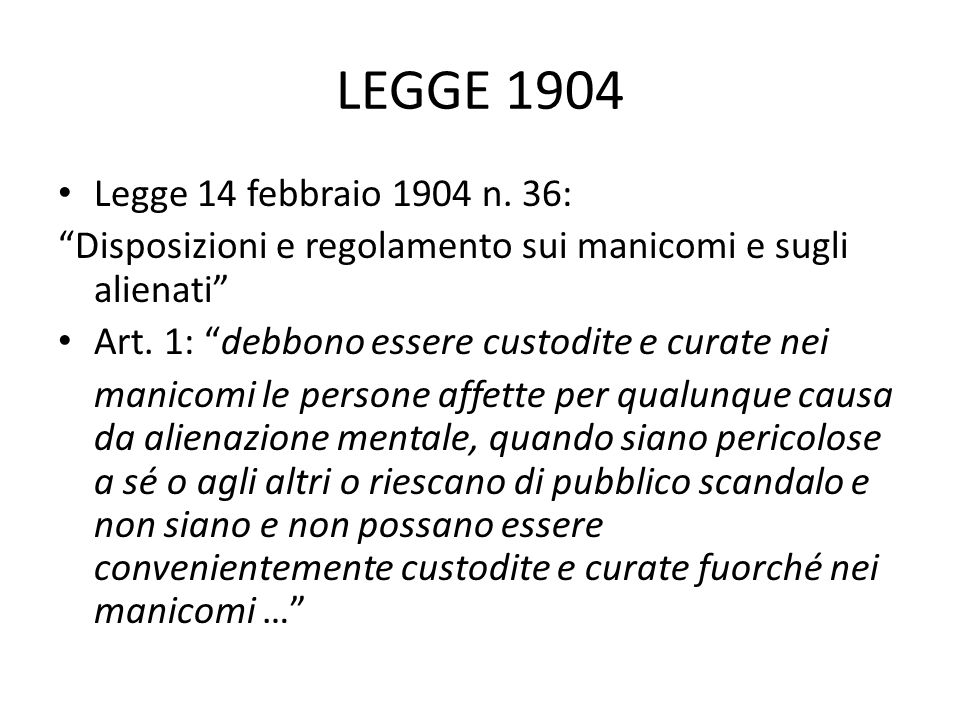 LEGGE 1904 Legge 14 febbraio 1904 n. 36: