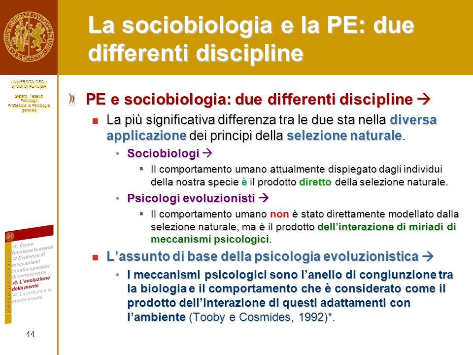 La sociobiologia e la PE: due differenti discipline