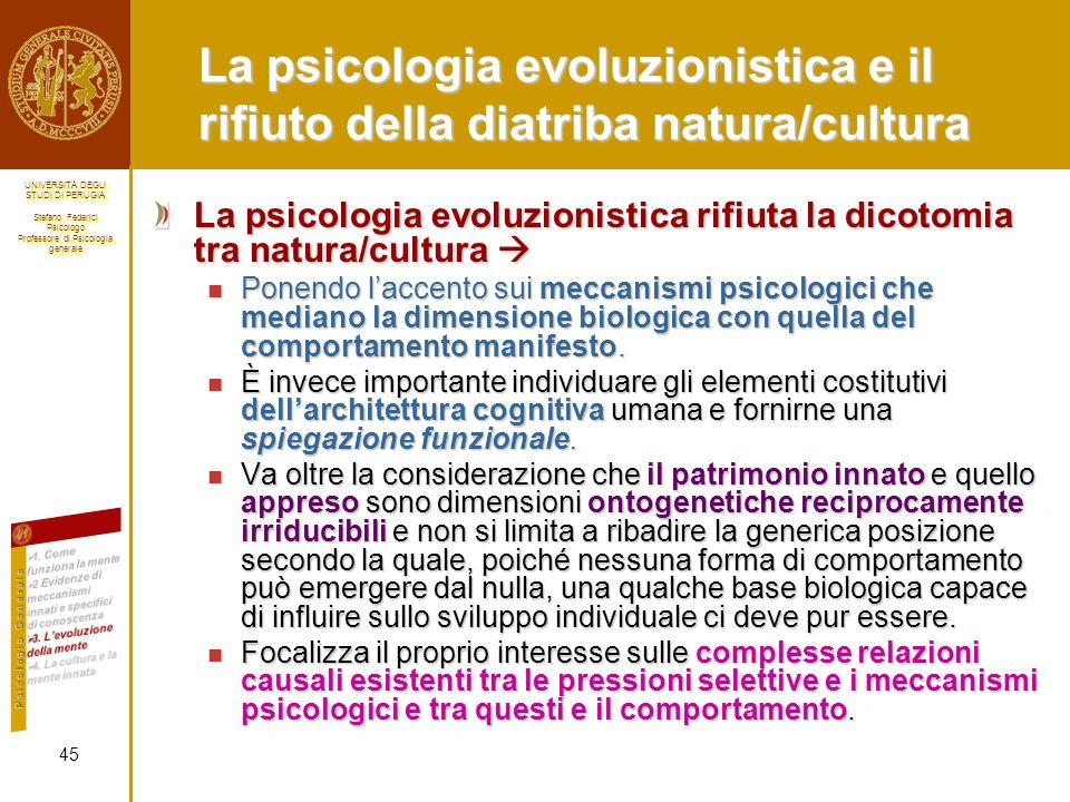 La psicologia evoluzionistica e il rifiuto della diatriba natura/cultura