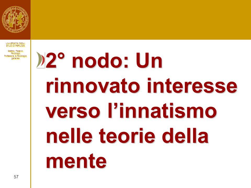 2° nodo: Un rinnovato interesse verso l'innatismo nelle teorie della mente