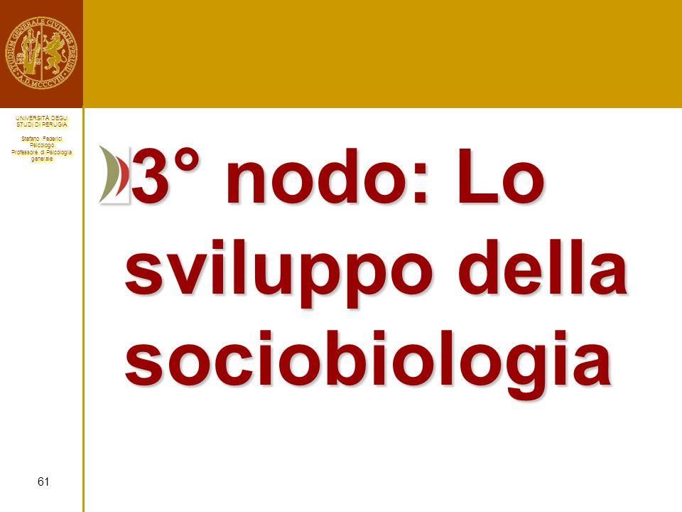 3° nodo: Lo sviluppo della sociobiologia