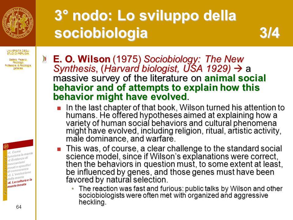 3° nodo: Lo sviluppo della sociobiologia 3/4