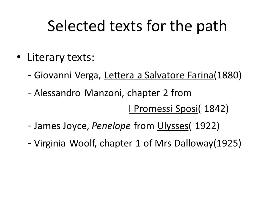 Selected texts for the path