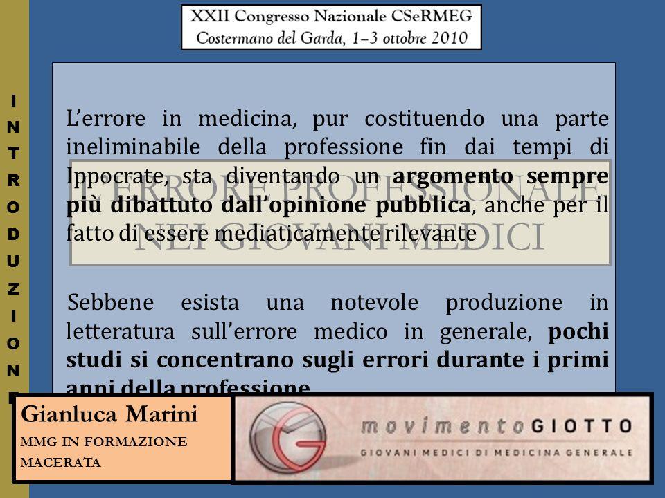 L'ERRORE PROFESSIONALE NEI GIOVANI MEDICI