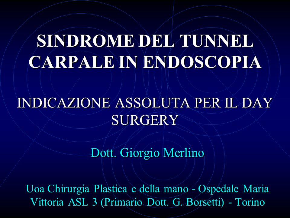 SINDROME DEL TUNNEL CARPALE IN ENDOSCOPIA INDICAZIONE ASSOLUTA PER IL DAY SURGERY