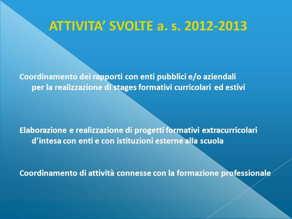 ATTIVITA' SVOLTE a. s. 2012-2013