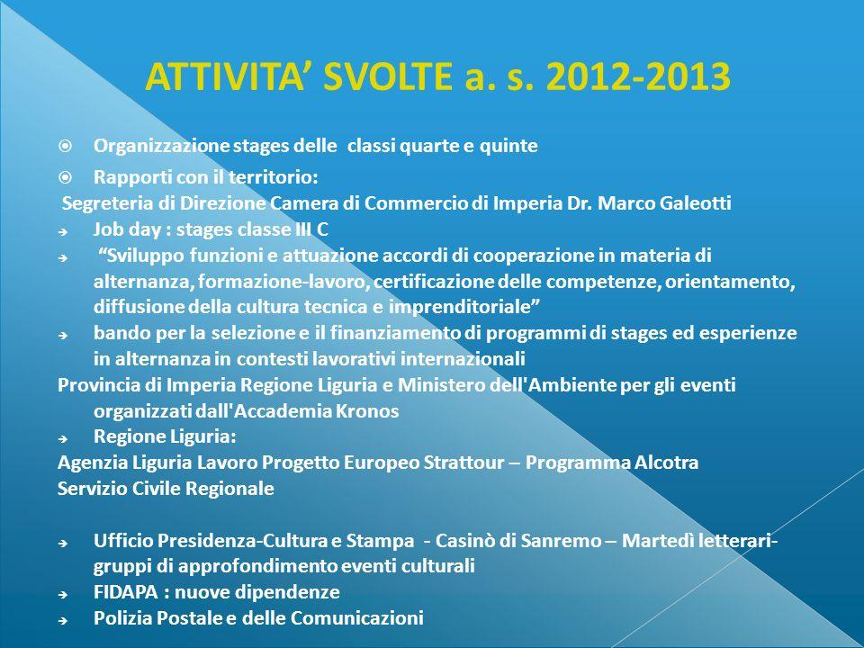 ATTIVITA' SVOLTE a. s. 2012-2013 Organizzazione stages delle classi quarte e quinte. Rapporti con il territorio: