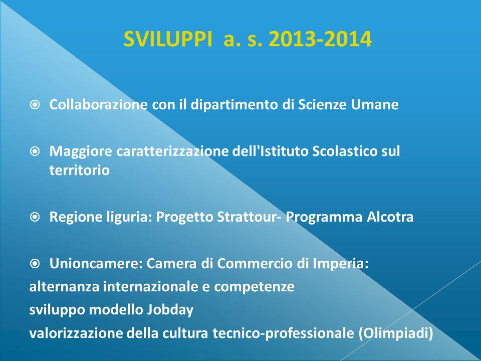 SVILUPPI a. s. 2013-2014 Collaborazione con il dipartimento di Scienze Umane. Maggiore caratterizzazione dell Istituto Scolastico sul territorio.