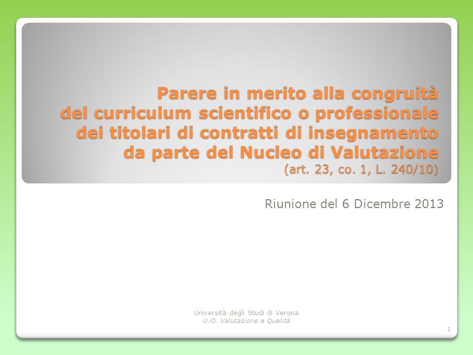 Parere in merito alla congruità del curriculum scientifico o professionale dei titolari di contratti di insegnamento da parte del Nucleo di Valutazione (art. 23, co. 1, L. 240/10)