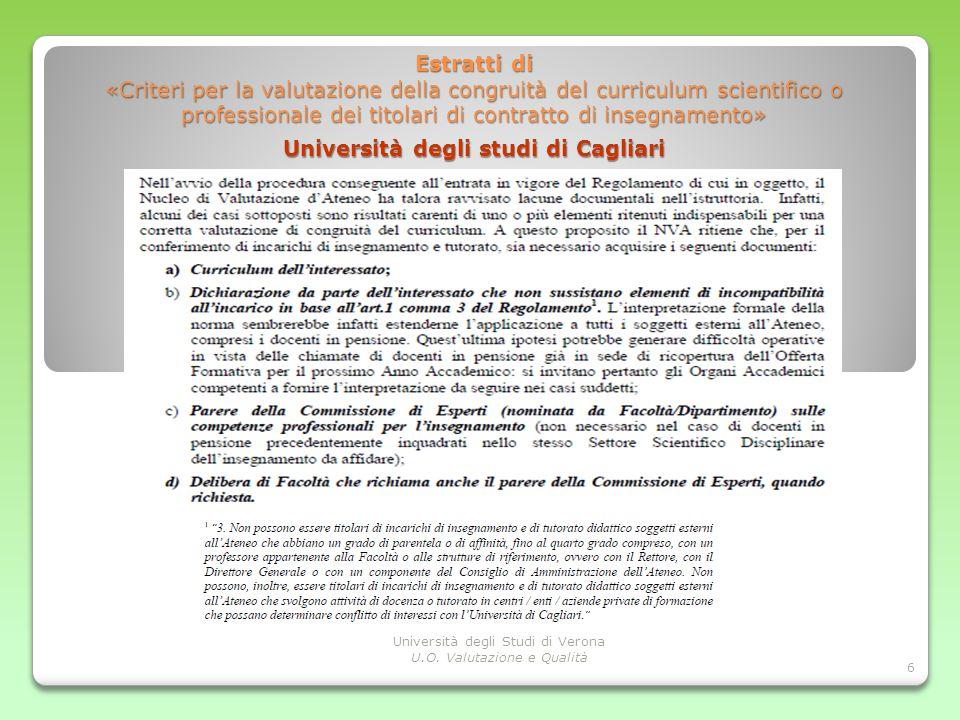 Estratti di «Criteri per la valutazione della congruità del curriculum scientifico o professionale dei titolari di contratto di insegnamento»