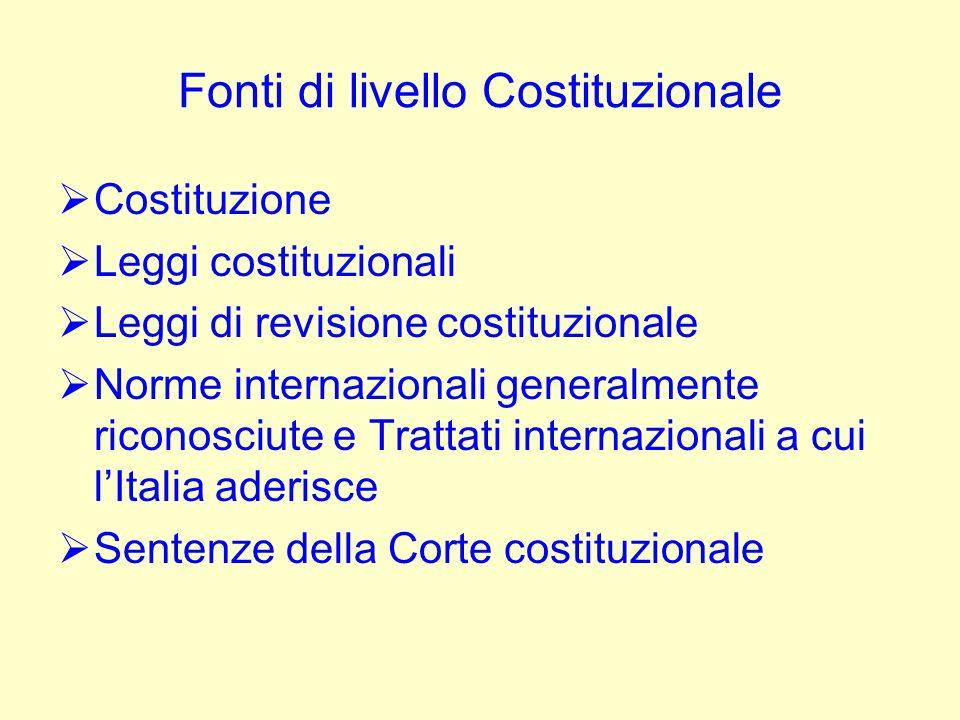 Fonti di livello Costituzionale