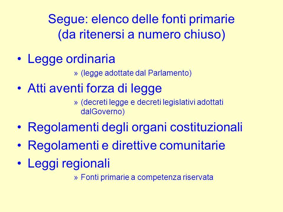 Segue: elenco delle fonti primarie (da ritenersi a numero chiuso)