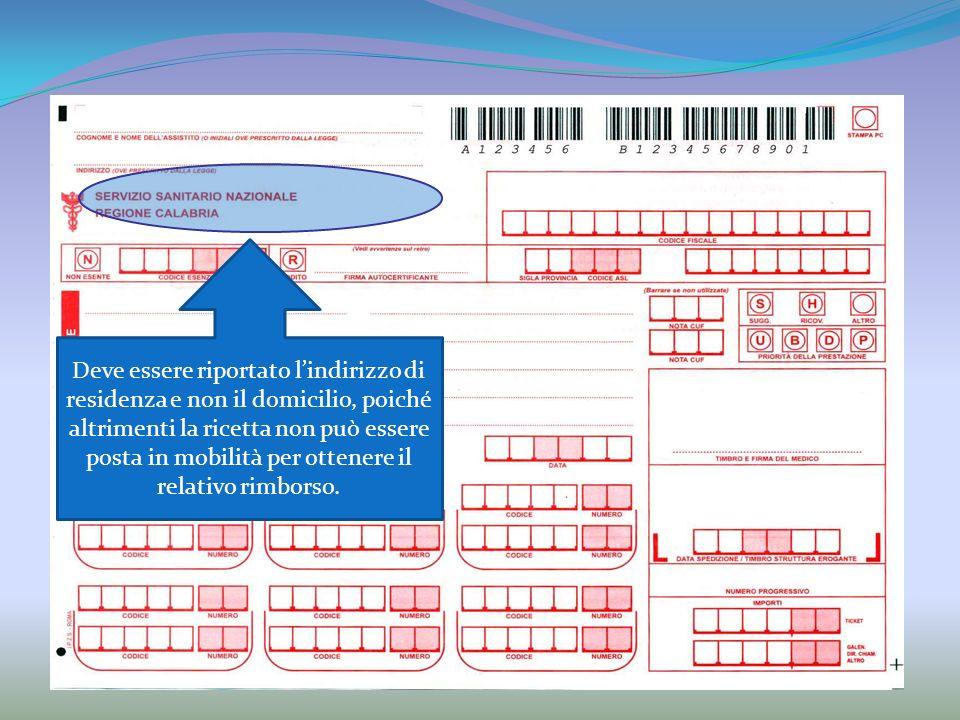 Deve essere riportato l'indirizzo di residenza e non il domicilio, poiché altrimenti la ricetta non può essere posta in mobilità per ottenere il relativo rimborso.