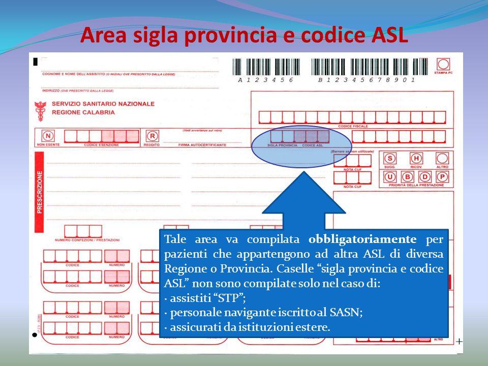 Area sigla provincia e codice ASL