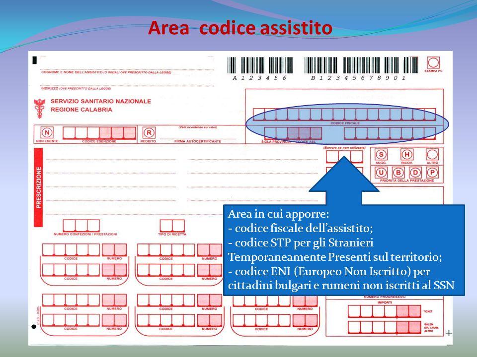 Area codice assistito Area in cui apporre: