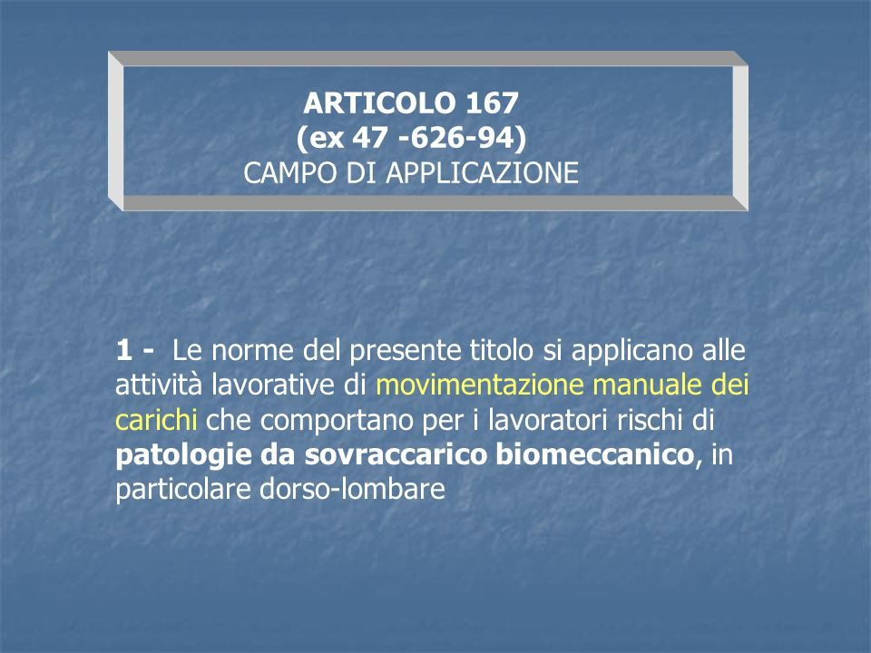 ARTICOLO 167 (ex 47 -626-94) CAMPO DI APPLICAZIONE.