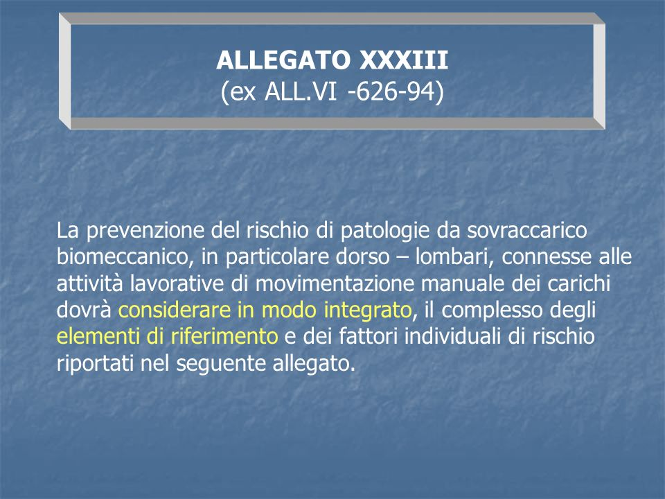 ALLEGATO XXXIII (ex ALL.VI -626-94)
