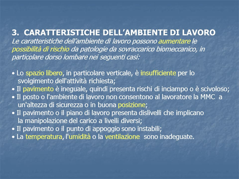 3. CARATTERISTICHE DELL'AMBIENTE DI LAVORO
