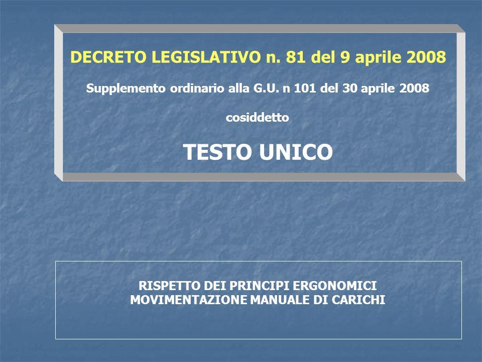 TESTO UNICO DECRETO LEGISLATIVO n. 81 del 9 aprile 2008