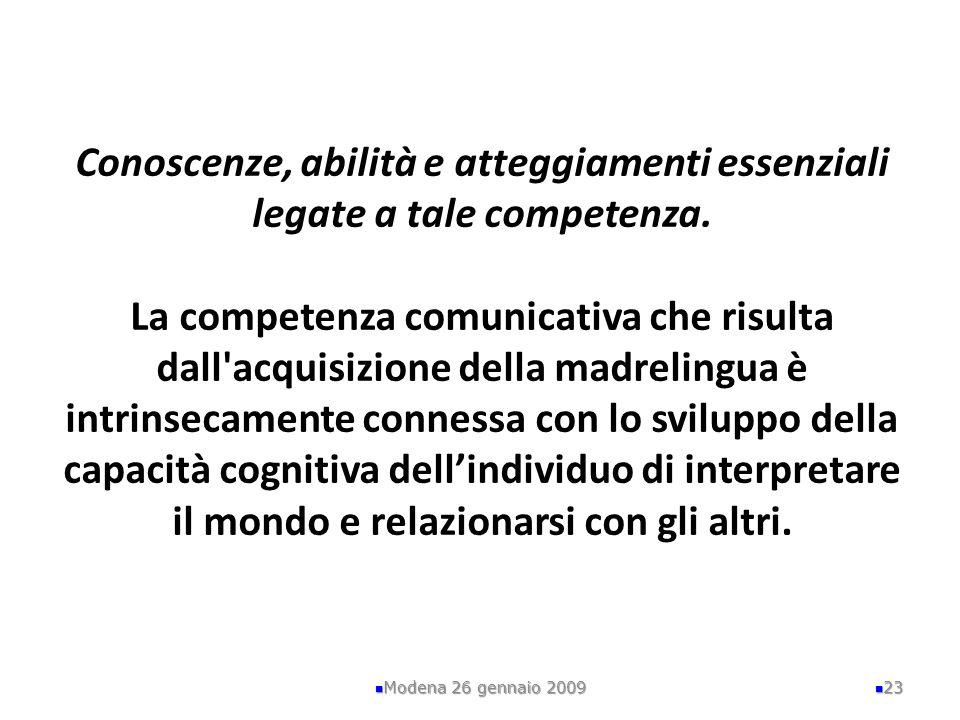 Conoscenze, abilità e atteggiamenti essenziali legate a tale competenza. La competenza comunicativa che risulta dall acquisizione della madrelingua è intrinsecamente connessa con lo sviluppo della capacità cognitiva dell'individuo di interpretare il mondo e relazionarsi con gli altri.