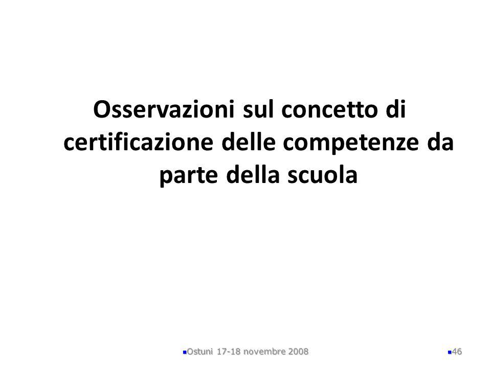 Osservazioni sul concetto di certificazione delle competenze da parte della scuola