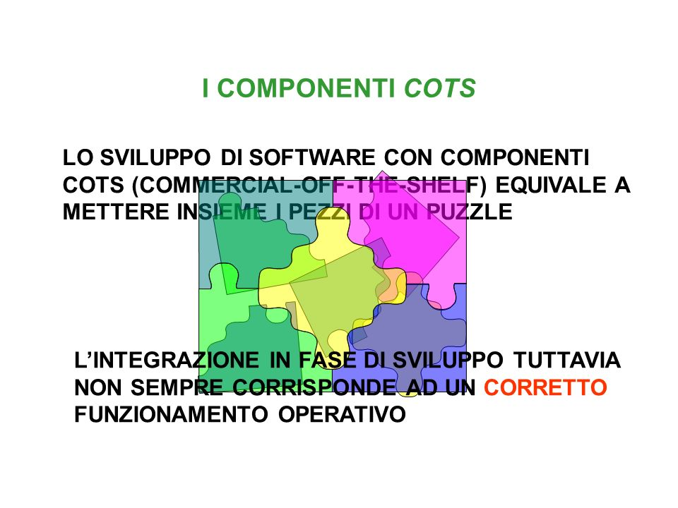 I COMPONENTI COTS VANTAGGI