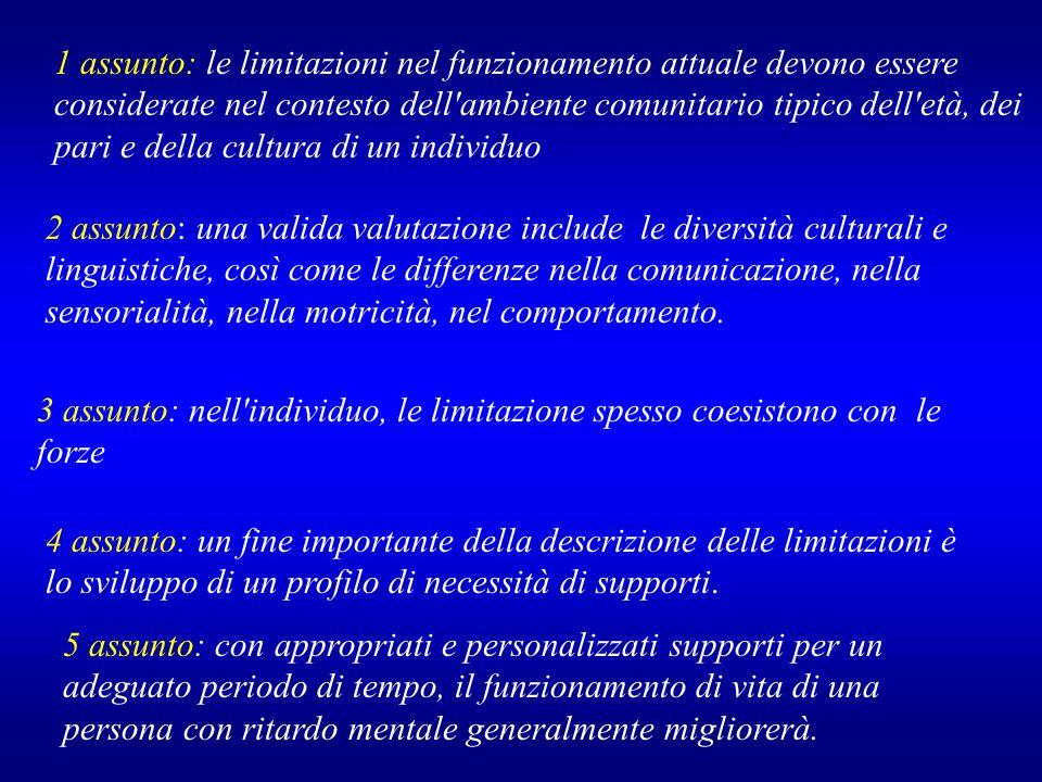 1 assunto: le limitazioni nel funzionamento attuale devono essere considerate nel contesto dell ambiente comunitario tipico dell età, dei pari e della cultura di un individuo
