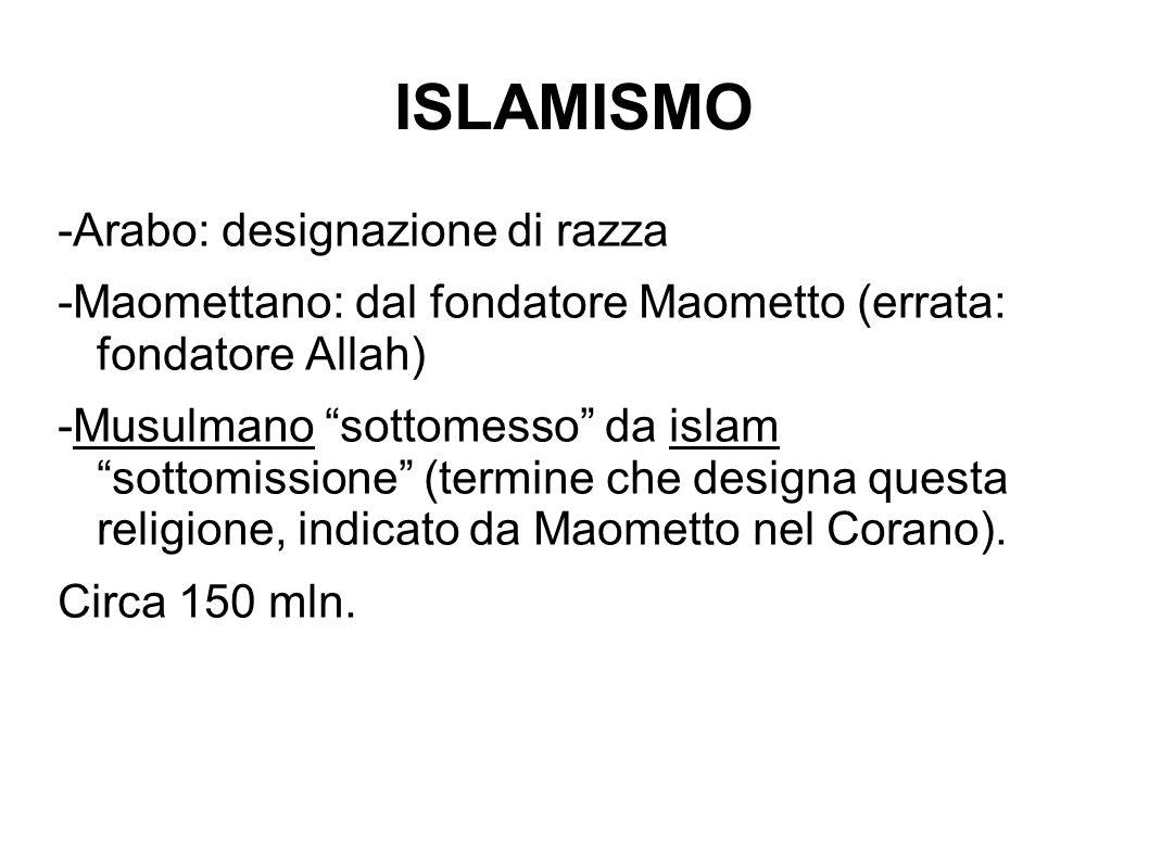 ISLAMISMO -Arabo: designazione di razza