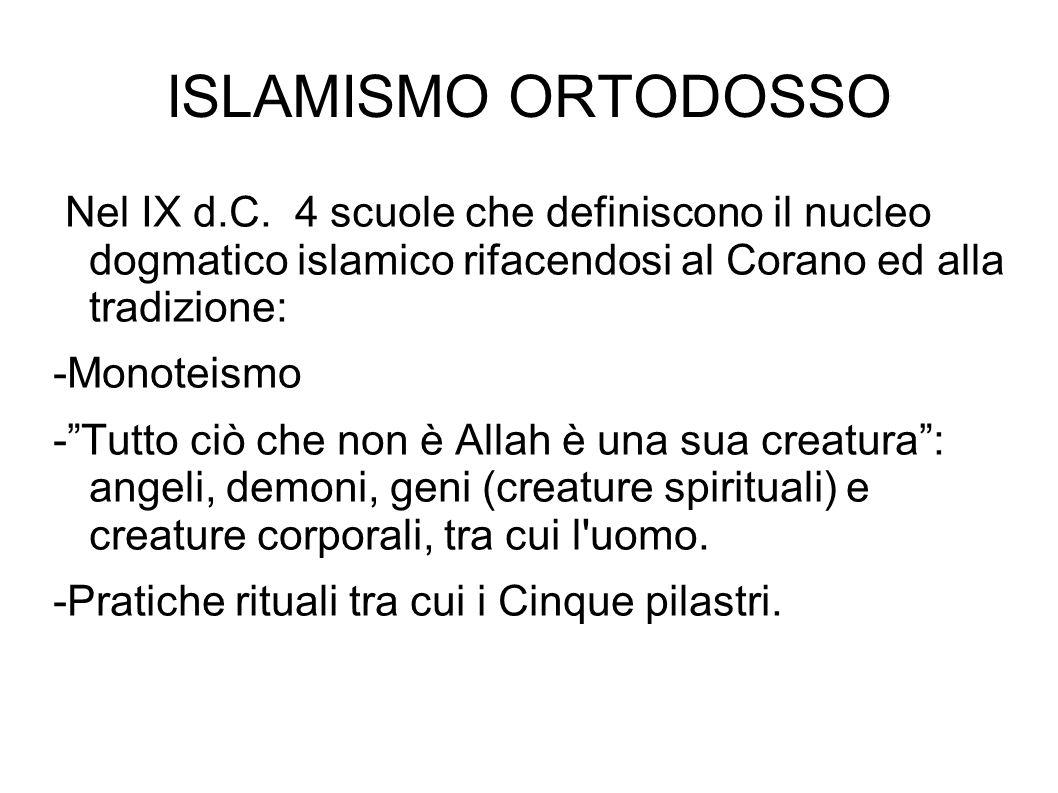 ISLAMISMO ORTODOSSO Nel IX d.C. 4 scuole che definiscono il nucleo dogmatico islamico rifacendosi al Corano ed alla tradizione: