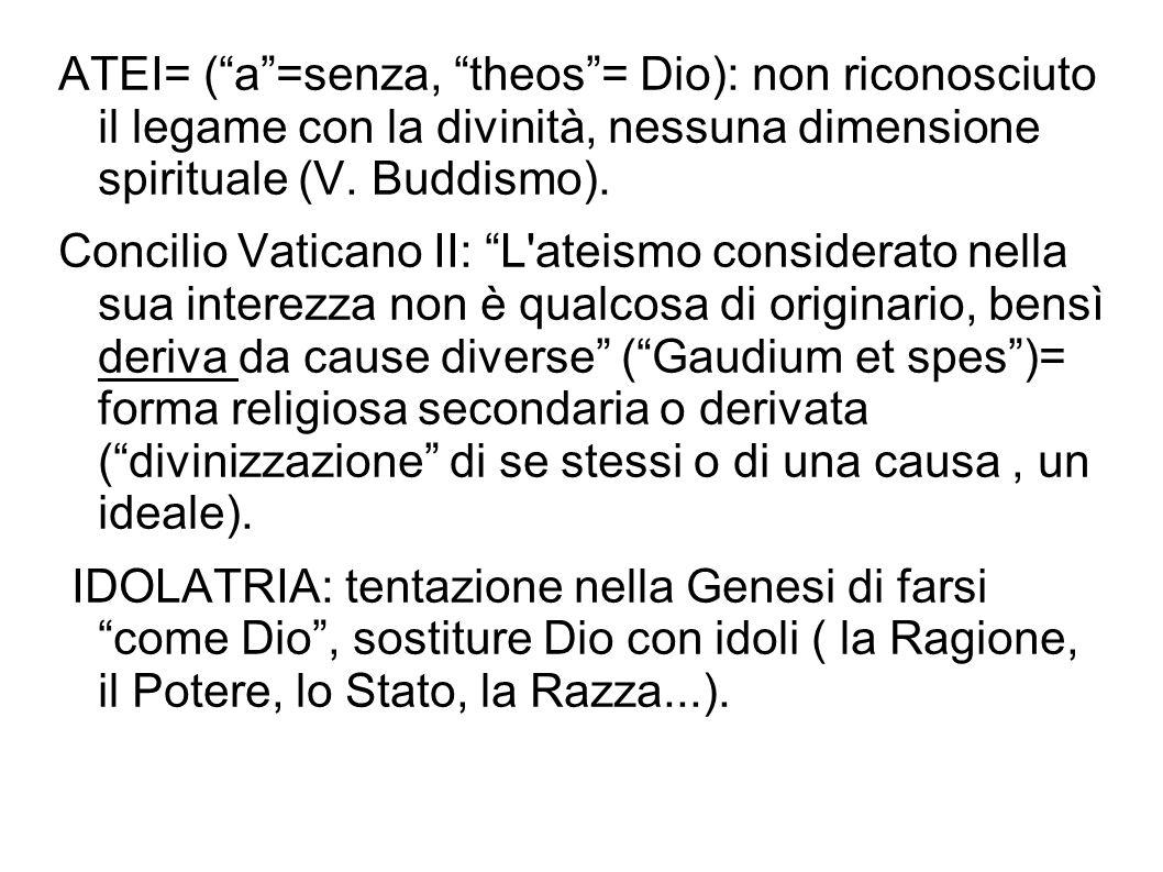 ATEI= ( a =senza, theos = Dio): non riconosciuto il legame con la divinità, nessuna dimensione spirituale (V. Buddismo).