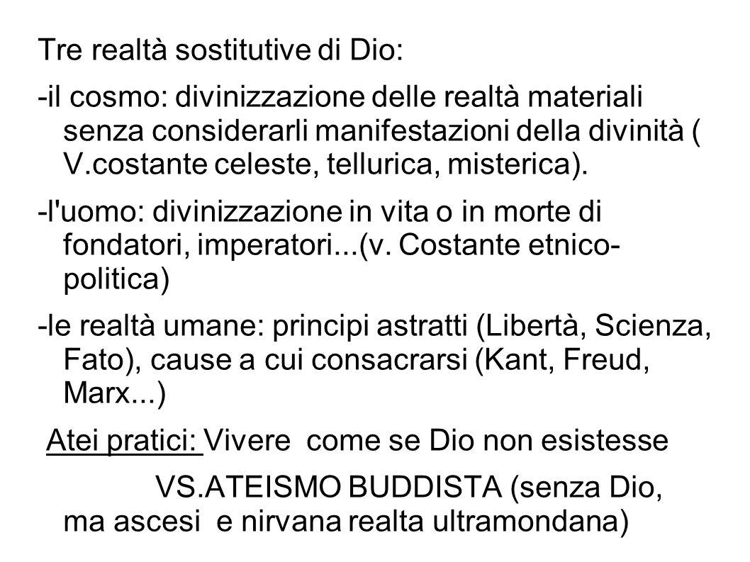 Tre realtà sostitutive di Dio: